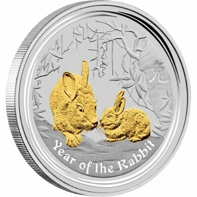2011 $1 YEAR OF THE RABBIT 1oz SILVER GILDED COIN