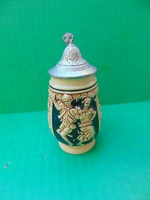 "BEER STEIN WEST GERMANY Lidded Golden Crown E&R Stoneware Church 3.25"" ONLY ONE"