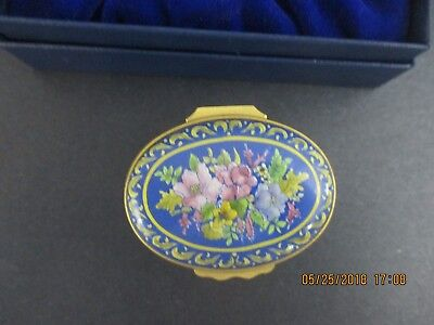 Halcyon Days  Floral With Blue Background    Enamel Trinket Box