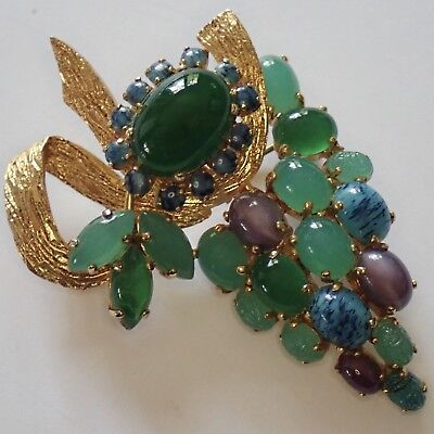 Vtg Couture Christian Dior Gold Plate Chrysoprase Turquoise Glass Scarab Brooch