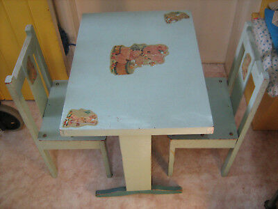 Children's Kid's Table And Two Chairs