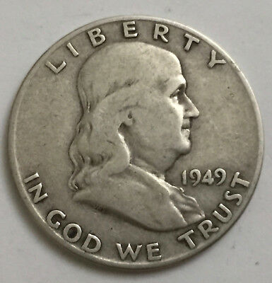 1949 D Denver United States of America USA US Silver Franklin Half Dollar Coin