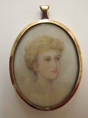 Antique Georgian Hand Painted Miniature In A Gilt Oval Frame