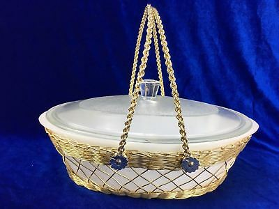 Glasbake USA RETRO LID and Dish Oven Casserole With Wire Brass Carry Basket