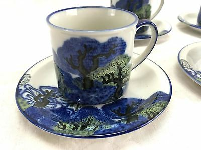 8 Piece Set of 4 Tea Cup And Saucer GRIZELLE JAPAN Hand Painted Blue Vintage