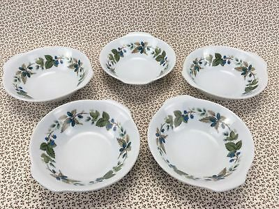 Noritake Set of 5 Lugged Dessert Bowls GREENBRIAR 6802 Made in JAPAN Berries