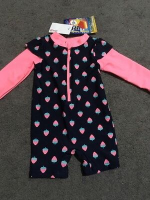 BNWT Baby Girls Pink And Blue Long Sleeve Zip Up Rashie Suit Size 00 RRP $16.00