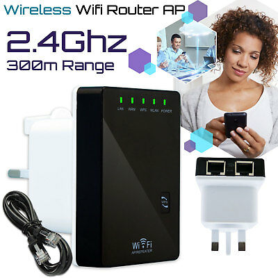 300mbps Mini Wireless N Router Wifi Repeater Long Range Extender Booster UK Plug