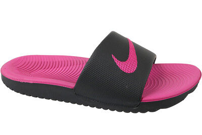 Nike Junior Kawa Slider Slide Slip On Flip Flop Pool Sandals Black / Pink