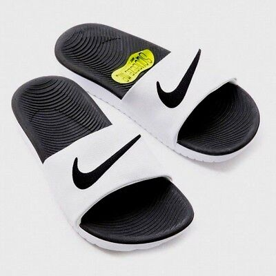 Nike Kawa Slide Slider Slip On Solar Soft Pool Sandals Junior Womens White Black