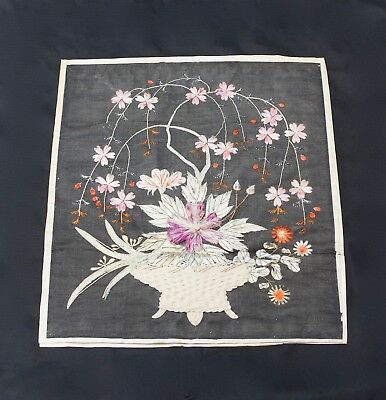 Antique Japanese Embroidery on Silk - Late Edo Period Circa 1880