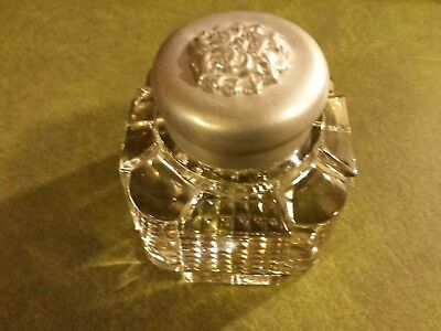 A Most Excellent Late 19th Century Glass Inkwell With Unusual Aluminum Cap