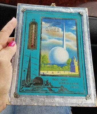 Vintage 1939 New York Worlds Fair Thermometer ANGELO CIARDO GROCERY Store mirror