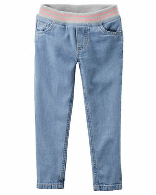 Carter's Pull On Ribbed Stretchy Waistband Denim Jeans Girls Size 7 MRSP $28 NWT