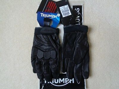 Triumph Kirkby Summer Short Vintage Style Leather Motorcycle Gloves - XXXL / 3L