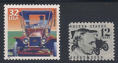 Henry Ford - Model T - Set Of 2 U.s. Postage Stamps - Mint Condition