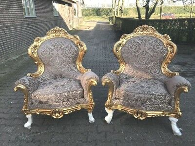 Antique Pair (2) Of Baroque Chairs
