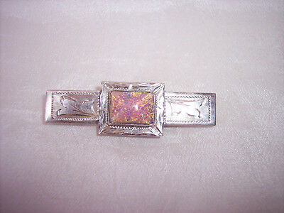 Gorgeous Antique Vintage Sterling Silver Tie Money Clip with Large Opal Stone
