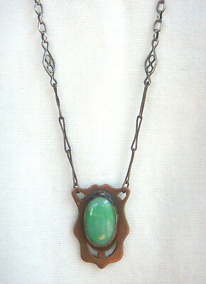 Arts & Crafts Period Silver, Copper, and Jade Necklace