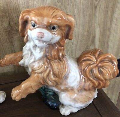 "Large Ceramic Japanese Chin Dog Figurine Statue 12"" X 9"""