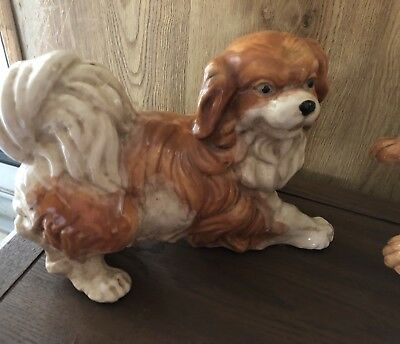 "Large Ceramic Dog Figurine Japanese Chin 11"" X 10"" Good Quality"