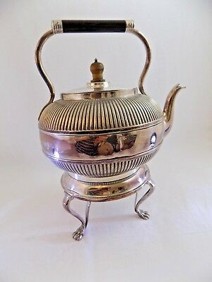 Silver Plated Spirit Kettle With Lion Foot Stand Martin Hall and Co.