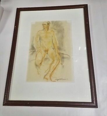 ALICE WRIGHT UHLMANN (AMERICAN 1911-2002) MALE NUDE - SIGNED Gay Interest