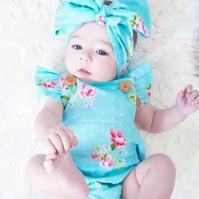 Newborn Infant Baby Girl Floral Print Bodysuit Jumpsuit Summer Clothes Headwears
