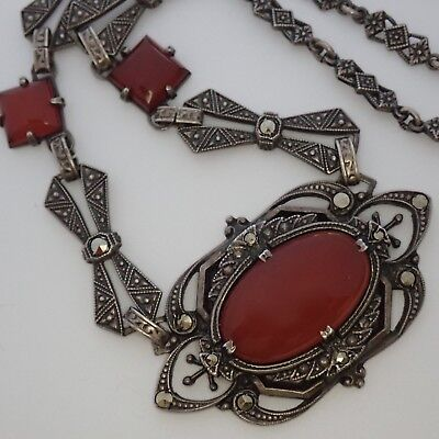 Antique Art Deco Sterling Silver Marcasite Carnelian Necklace