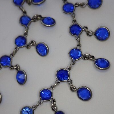 Antique Art Deco Silver Tone Open Back Bezel Set Blue Crystal Fringe Necklace