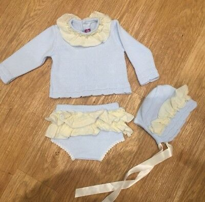 Baby Girl Nini Spanish Knitted Outfit With Bonnet Immaculate 6 Months 🎀