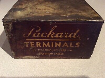 Vintage PACKARD terminals metal 2 drawer box advertising not sign