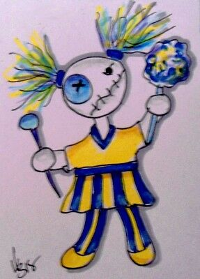 "Aceo  Original  ATC  "" CHEERLEADER VOODOO    ""    pencil / ink"