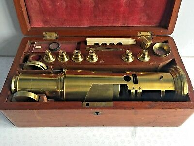 Antique Brass C. West Liverpool Microscope in Mahogany Case w/ Lenses & Slides