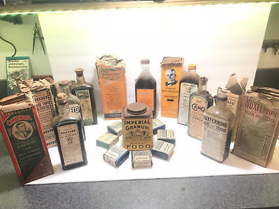 Large Quack Bottle And Box Lot Okatona, Caldwell's, S.w. Gould Erbs Nos Full Bin