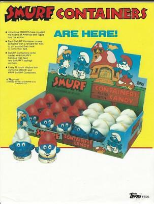 Selling sheet Topps SMURF CANDY CONTAINER HEADS 1983