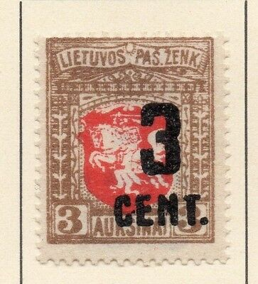 Lithuania 1922 Early Issue Fine Mint Hinged 3c. Surcharged 227662