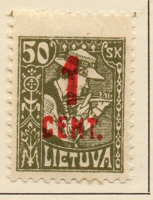 Lithuania 1922 Early Issue Fine Mint Hinged 1c. Surcharged 227660
