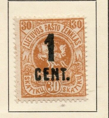 Lithuania 1922 Early Issue Fine Mint Hinged 1c. Surcharged 227657