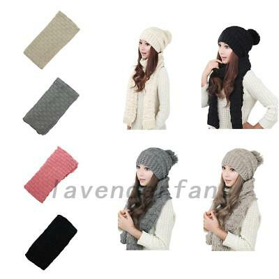Lovely Lady Winter Warm Hat Scarf Set Thickened Knit Beanie Pom Scarves Gift AU