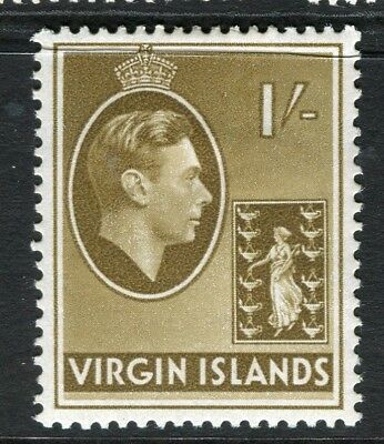 VIRGIN ISLANDS; 1938 early GVI issue fine Mint hinged 1s. value, Shade