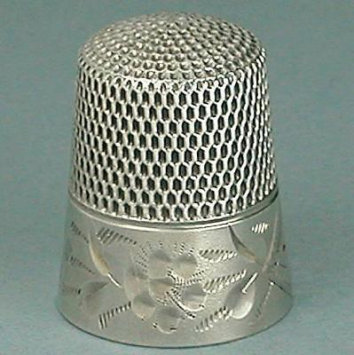Antique American Sterling Silver Floral Thimble * Circa 1880s