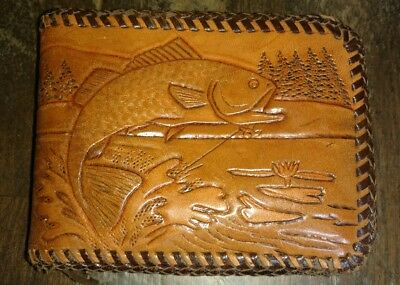 Vintage Leather Hand Tooled Fishing Wallet