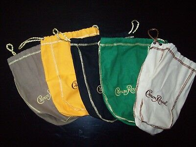 CROWN ROYAL Lot of 5 Crown Royal bottle bags, 5 different colors.