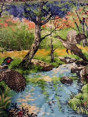 "Vtg Large Plush Velvet Rug Wall Hanging Tapestry Pheasant Forest 74 1/2""x50 1/2"""