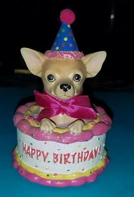 Happy Birthday Pup🐶 Figurine '08, Aye Chihuahua by Westland 13326 Party Cake🎂