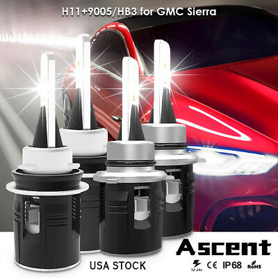 Combo LED Headlight Bulbs Kit 9005 H11 High Low Beam For GMC Terrain 2017-2010