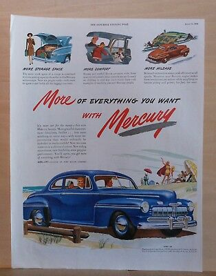 1946 magazine ad for Mercury - blue car at beach, more storage comfort mileage