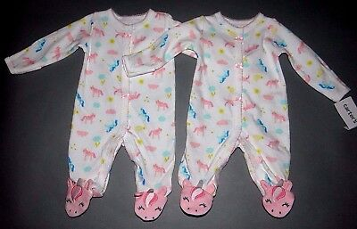 "Baby girl clothes, Preemie, Carter's ""2"" Colorful Unicorn sleep & plays/ 1/2 OFF"