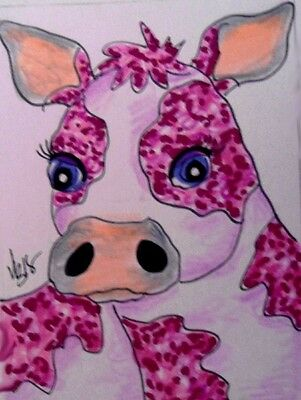 "Aceo  Original  ATC  "" STRAWBERRY MILK    ""    pencil / ink"